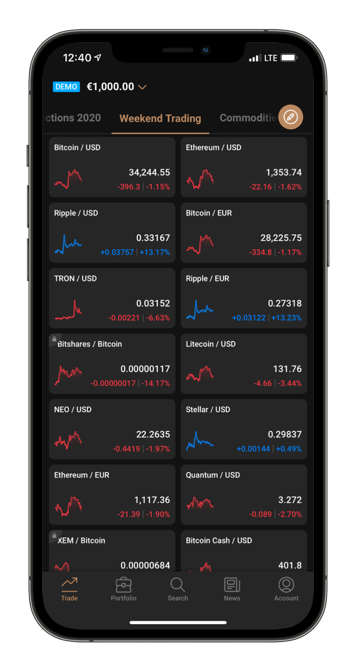 Capital.com Mobile platform home view