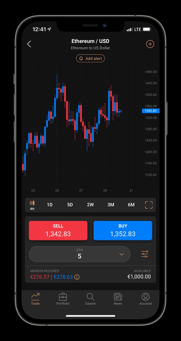 Capital.com Mobile platform trade view