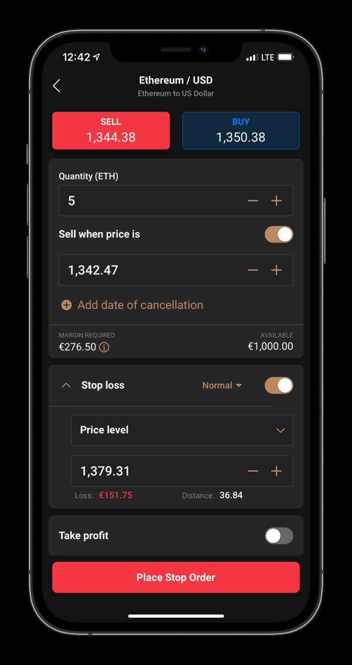 Capital.com Mobile platform order view