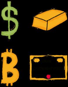 Dollar, Gold, Bitcoin and Shares illustration