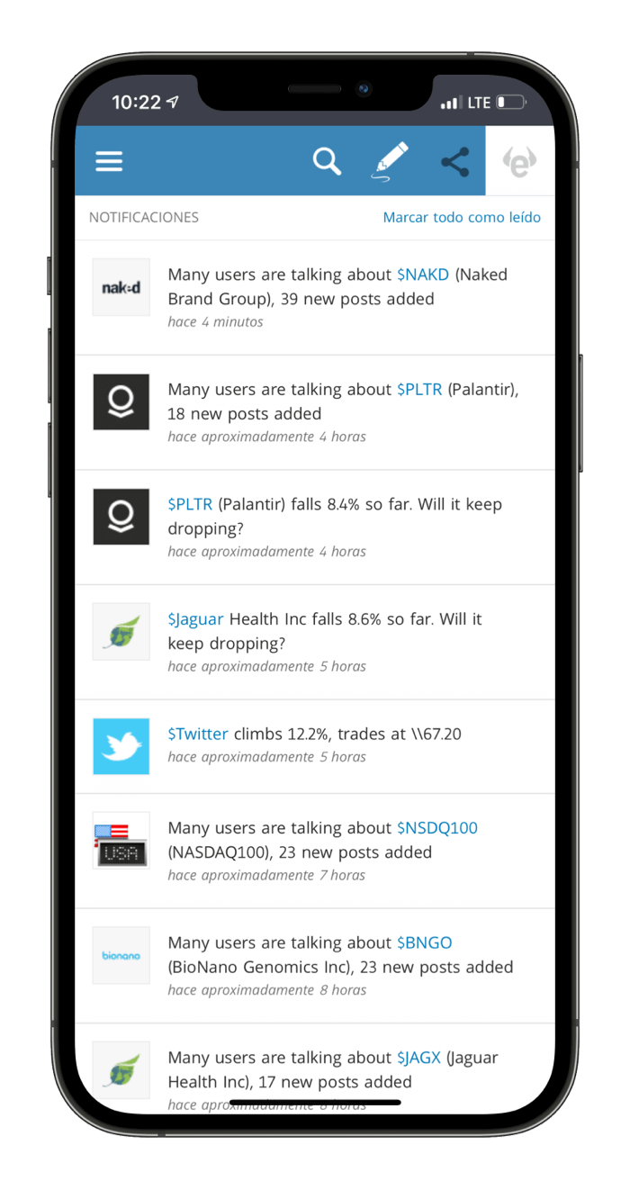 Notificaciones plataforma movil eToro