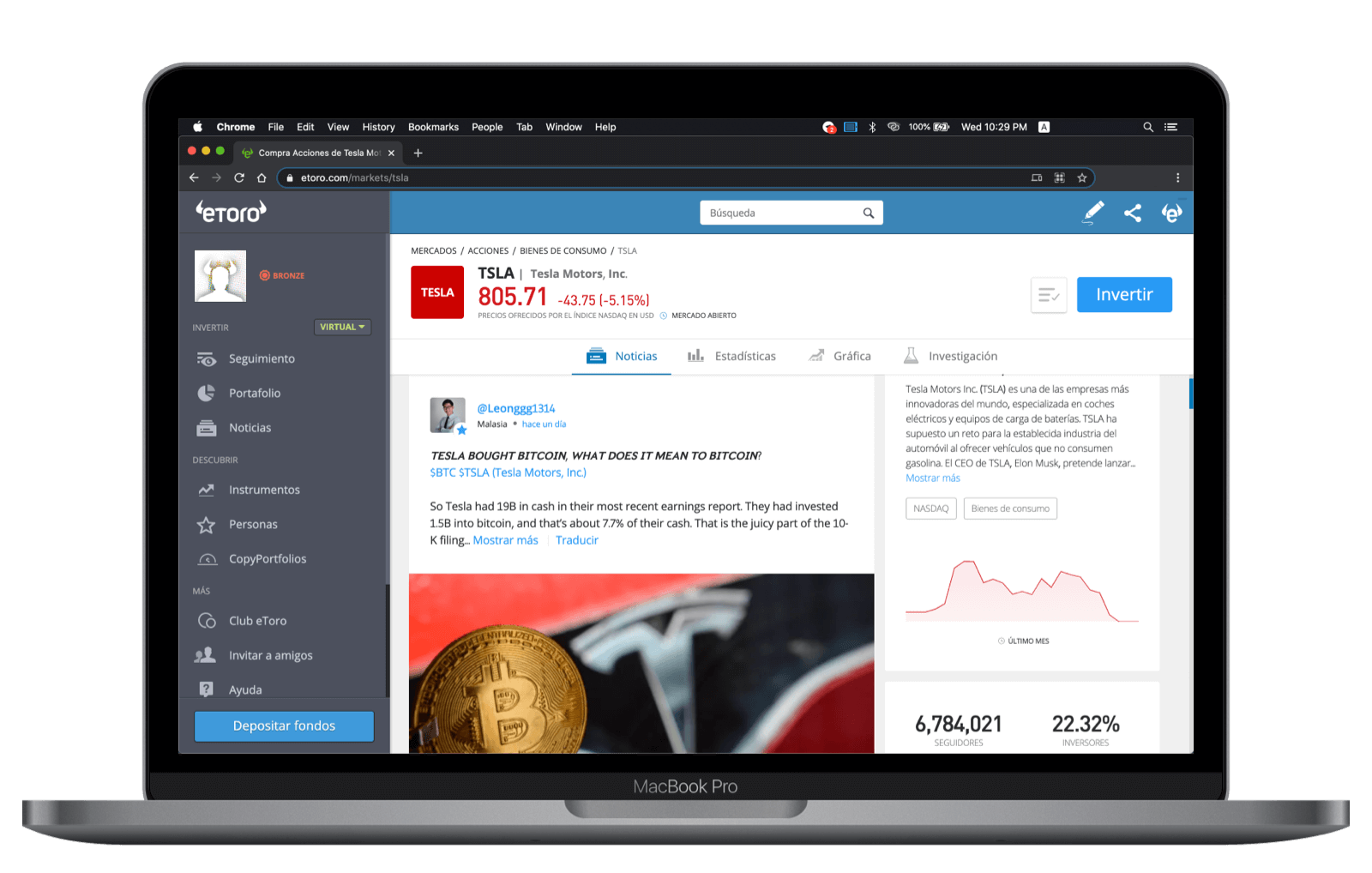 Noticias de activo plataforma Web eToro