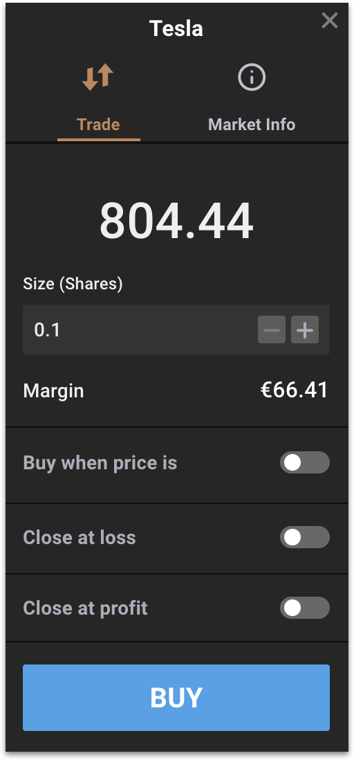 Placing a market buy order - Example 2