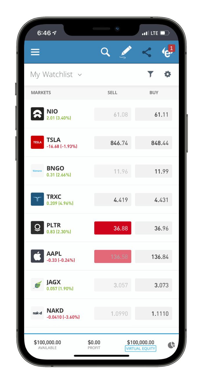 eToro mobile Home and Watchlists
