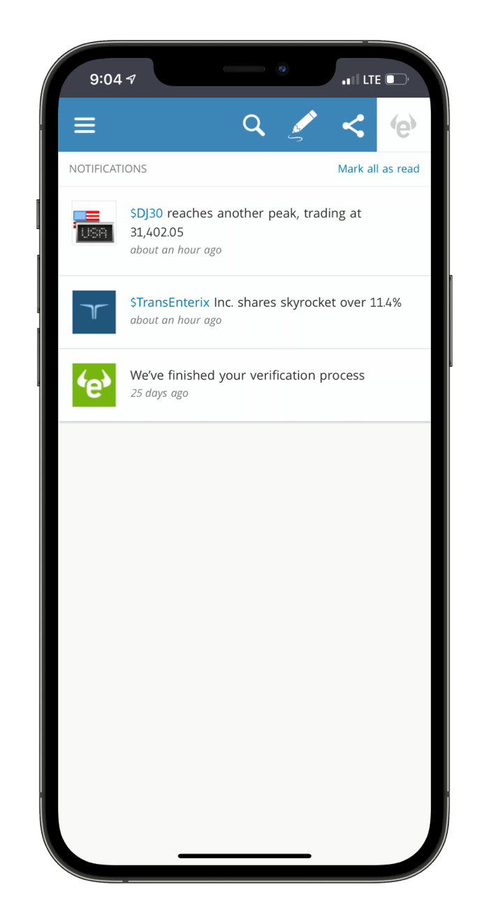 eToro mobile notifications