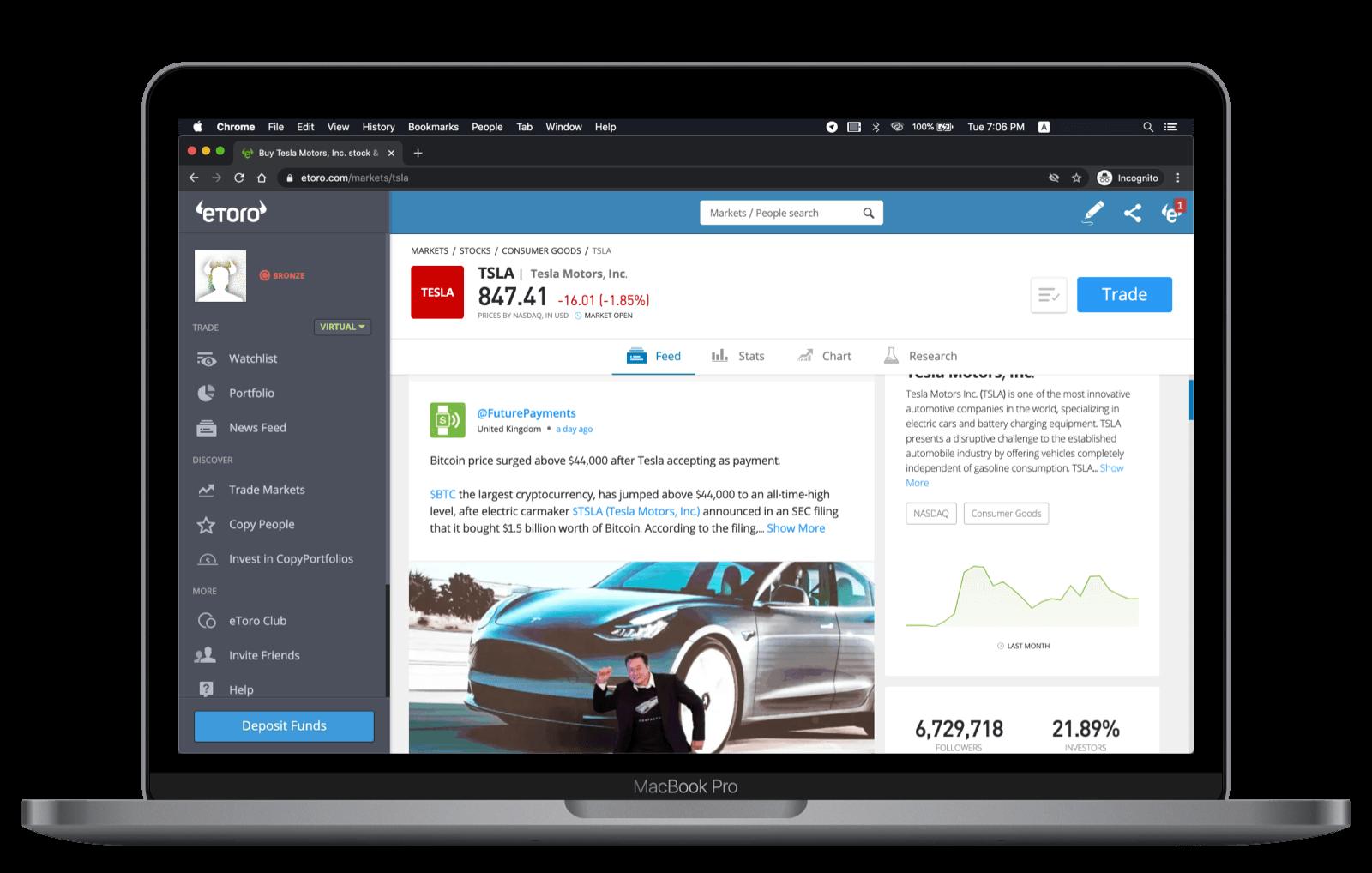eToro Web Asset View