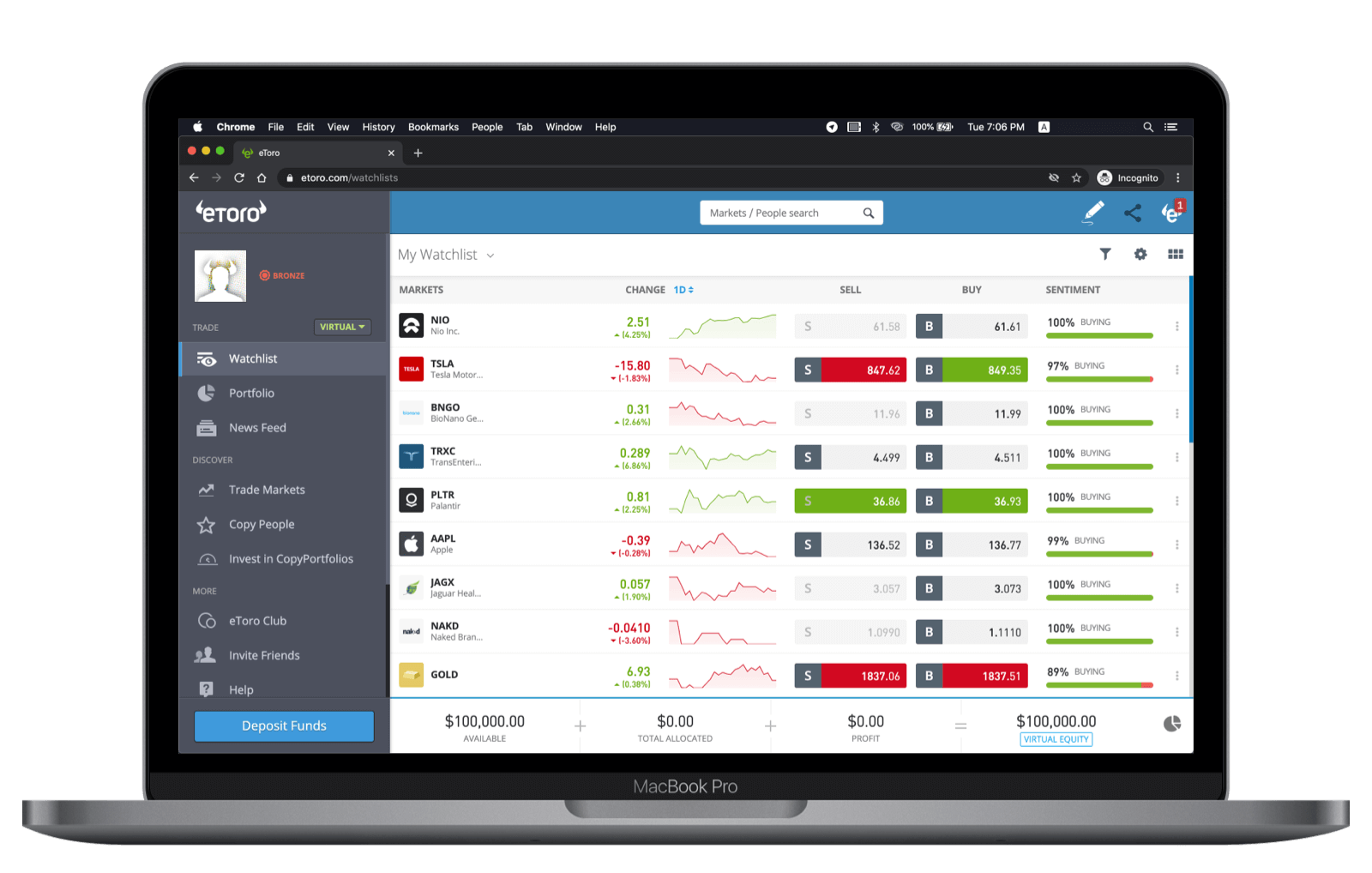 eToro web Platform Home