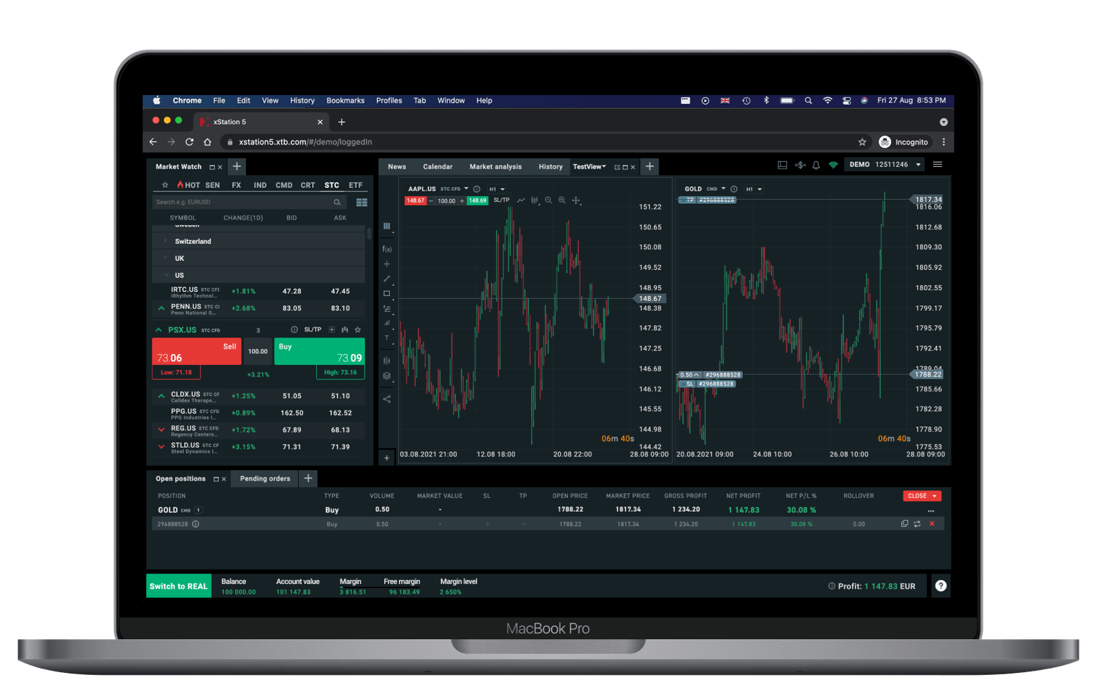 XTB Web Plattform Startseite