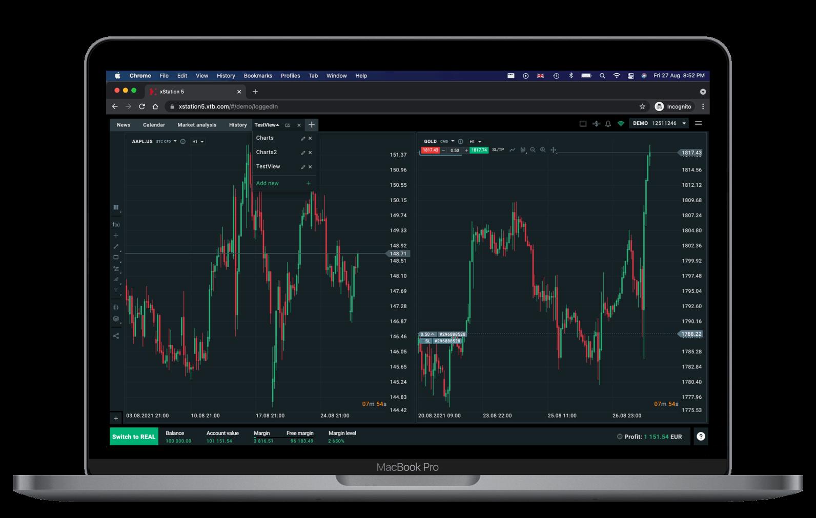 XTB Web Plattform Multichart