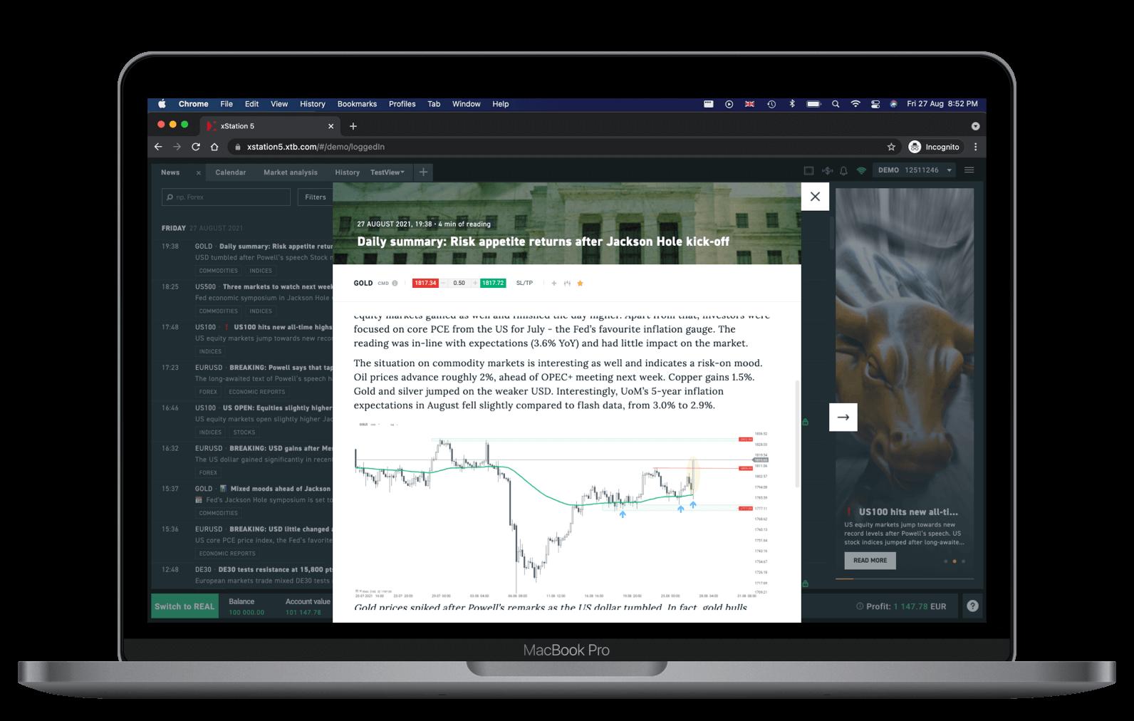 XTB Web Plattform Nachrichten