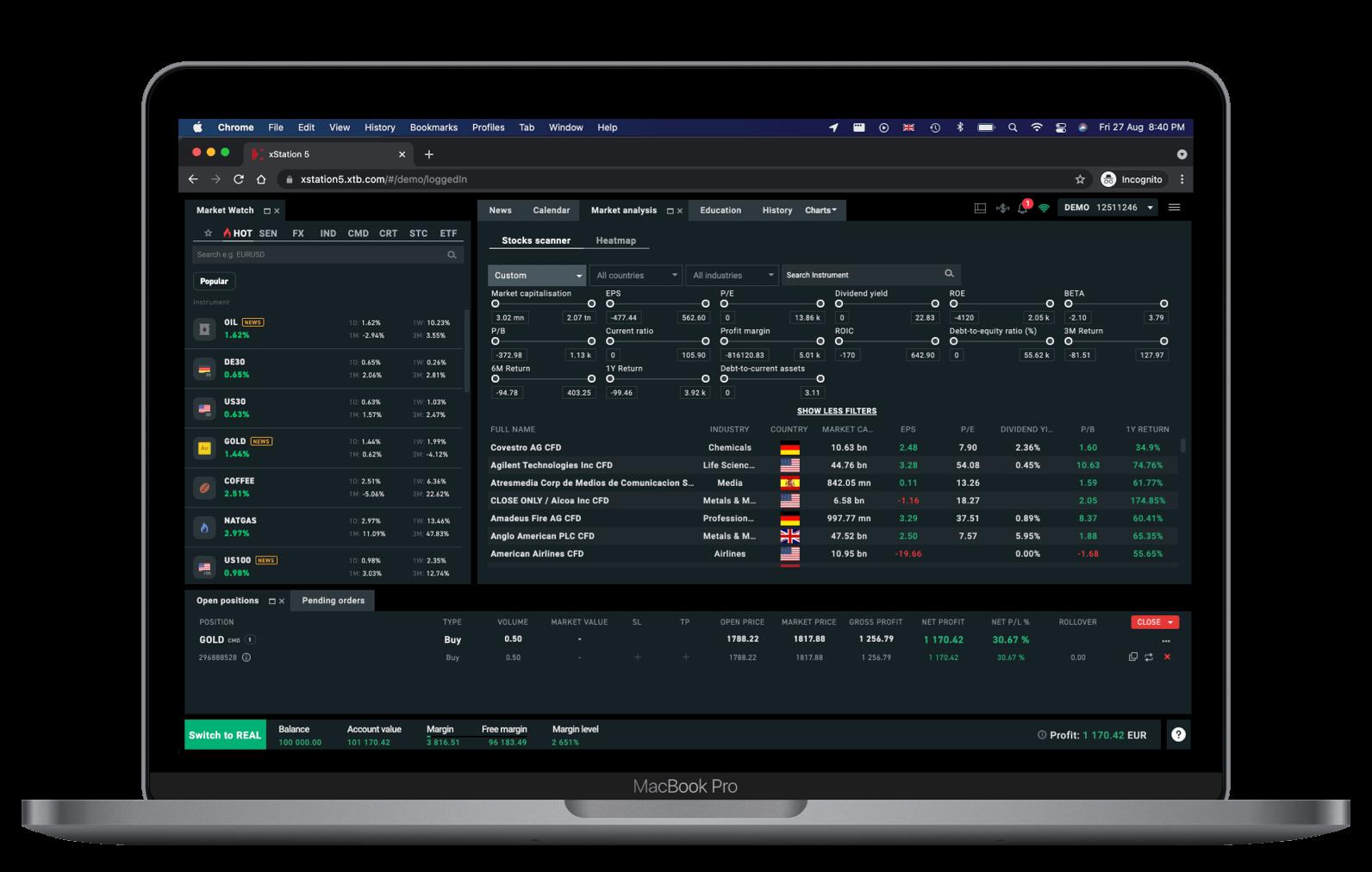XTB Web Plattform Aktien Scanner