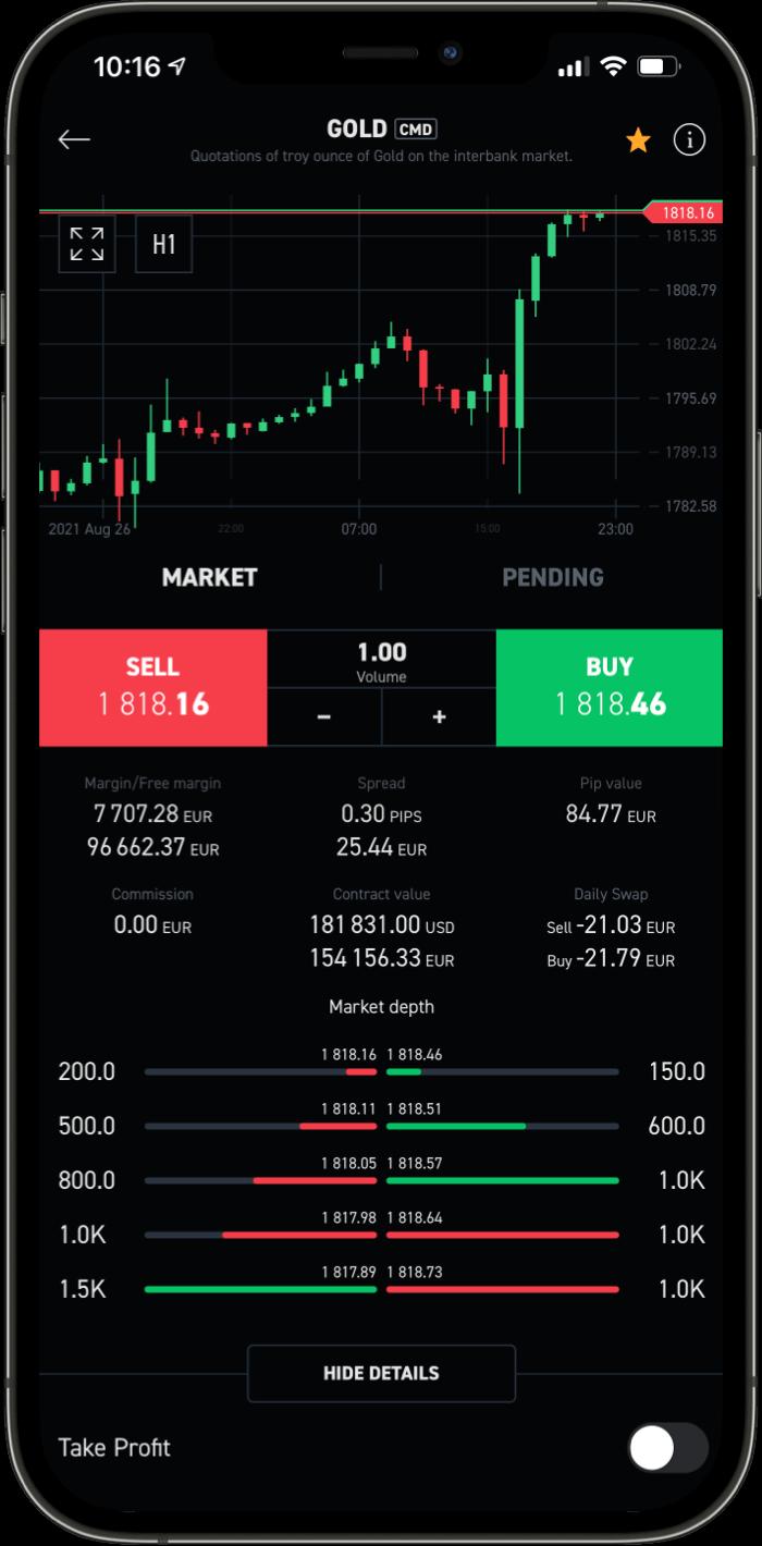 XTB Mobile Plattform Asset-Ansicht