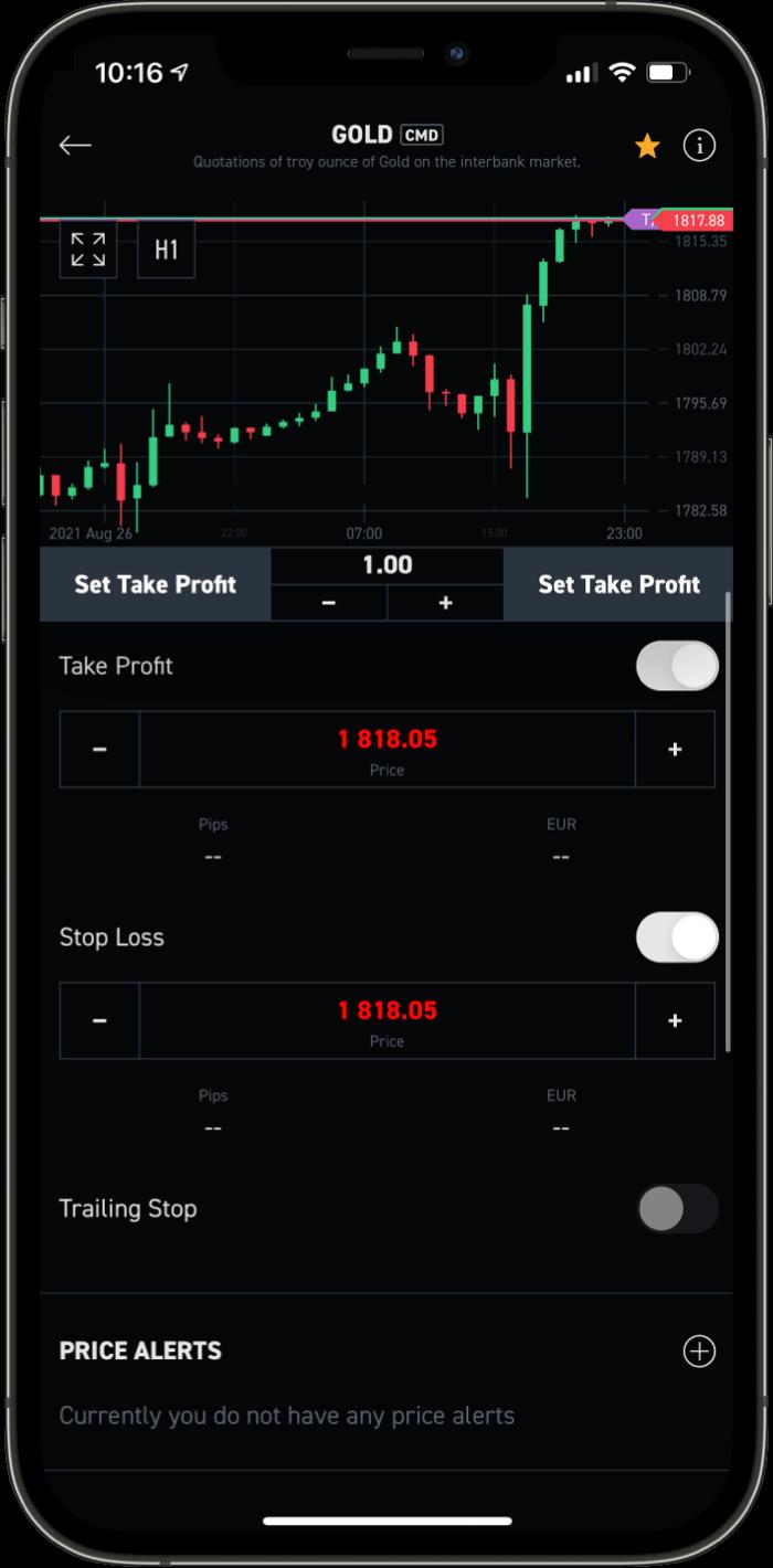XTB Mobile Plattform Stop Loss Take Profit